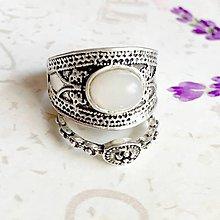 Prstene - Double Silky Moonstone Antique Silver Knuckle & Finger Ring / Sada 2 starostrieborných prsteňov s bielym mesačným kameňom - 9916914_