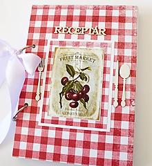 Papiernictvo - Receptár červený s čerešňami - 9914355_