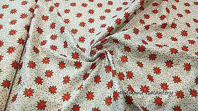 Textil - Bavlna vianočné ruže - cena za 10 cm - 9916131_