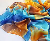 Šatky - Púšťna voda..hodvábna šatka - 9916192_