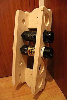 Dekorácie - Drevený stojan na víno na 5 fliaš - 9915490_