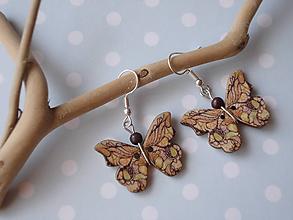 Náušnice - Náušnice- prírodné  motýliky - 9915152_