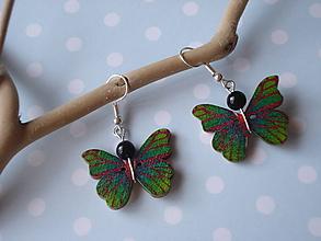Náušnice - Náušnice - motýliky zelené - 9915210_