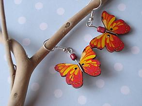 Náušnice - Náušnice - žiarivý motýlik - 9915269_