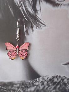 Náušnice - Náušnice - ružový motýľ - 9915305_