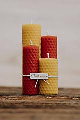 Svietidlá a sviečky - Sviečka zo 100% včelieho vosku - Točené tenké - Červené - 9914910_