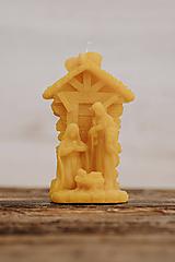 Svietidlá a sviečky - Sviečka zo 100% včelieho vosku - Betlehem stredný - 9915055_
