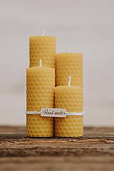 Sviečka zo 100% včelieho vosku - Točené 4ks - Žlté