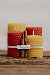 Svietidlá a sviečky - Sviečka zo 100% včelieho vosku - Točené hrubé - Červené - 9915218_