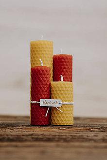 Svietidlá a sviečky - AKCIA - Sviečka zo 100% včelieho vosku - Točené 4ks - Farebné (Červená) - 9914910_