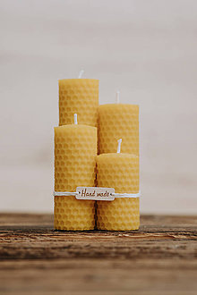 Svietidlá a sviečky - Sviečka zo 100% včelieho vosku - Točené 4ks - Žlté - 9915134_