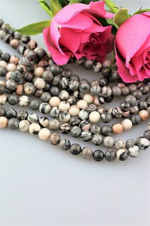 Minerály - jaspis šedo-ružový korálky 8mm - cena za 10ks! - 9916897_