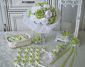 Kytice pre nevestu - Svadobný set v krásnej zelenej farbe. - 9914452_
