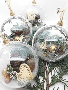 Dekorácie - Vianočné gule 4 ks v bielo zlatej farbe - 9914961_
