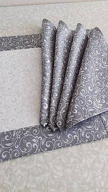 Úžitkový textil - Obrus - štóla strieborná s bielou - 9916533_