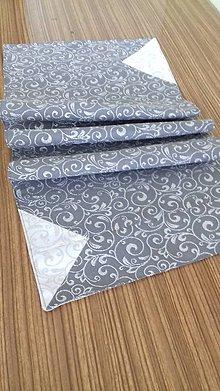 Úžitkový textil - Obrus - štóla strieborno-šedá - 9916596_