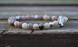 Šperky - Jaspis levander s krížikom náramok - 9915489_