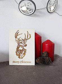 """Papiernictvo - Drevené pohľadnice """"Merry Christmas"""" - 9915108_"""