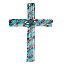 Dekorácie - Sklenený kríž na stenu tyrkysovohnedý vrstvený 0622 - 9914227_