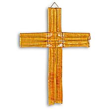 Dekorácie - Sklenený kríž na stenu JANTAR vrstvený - 9914309_