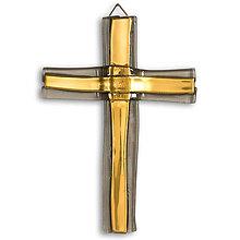 Dekorácie - Sklenený kríž na stenu zlatý vrstvený malý 0512 - 9914377_
