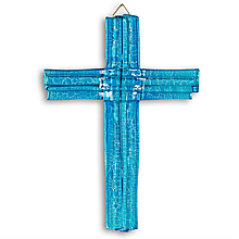 Dekorácie - Sklenený kríž na stenu modrý vrstvený malý 0712 - 9914413_