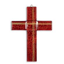 Dekorácie - Sklenený kríž na stenu RUBÍN 0821 s linkami - 9914476_