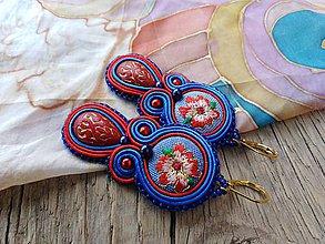 Náušnice - Romantické šujtášové náušničky (Modrá) - 9914340_
