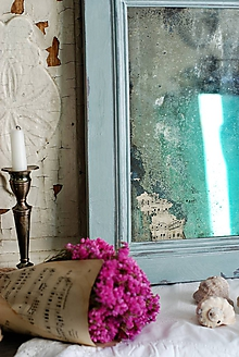 Zrkadlá - Shabby zrkadlo s notami - 9916693_