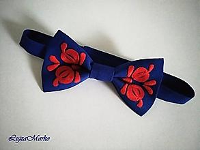 Doplnky - Slovenské mamičky motýlik (Červená-modrá) - 9916481_