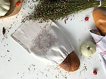 Úžitkový textil - Vrecúško na chlieb z ľanového plátna s výšivkou - 9917141_