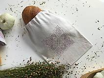 Úžitkový textil - Vrecúško na pečivo z ručne tkaného plátna - 9917558_