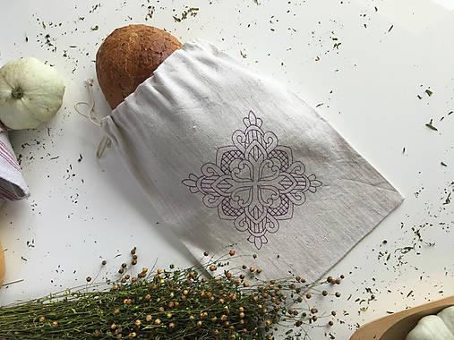 Vrecúško na pečivo z ručne tkaného plátna