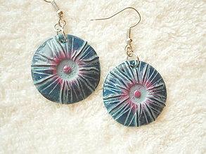 Náušnice - Náušnice z polyméru, fialový bod - 9915538_
