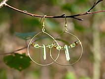 Náušnice - Zeleno zlaté kruhy - 9914110_