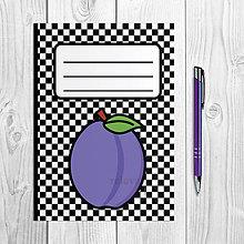 Papiernictvo - Zápisníky šachovnica ovocie (slivka) - 9915712_