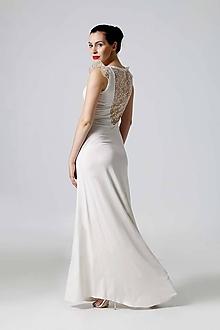 Šaty - Šaty dlhé smotanové s čipkou - 9920261_