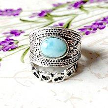 Prstene - Double Larimar Antique Silver Knuckle & Finger Ring / Sada 2 starostrieborných prsteňov s larimarom /0020 - 9918322_