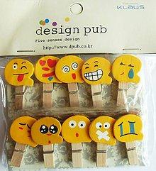 Polotovary - Dekoračné štipčeky - sada 10 ks - smile, smajlíci, úsmev - 9918926_