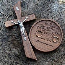 Prstene - SET svadobný kríž a podnos na obrúčky - 9921378_