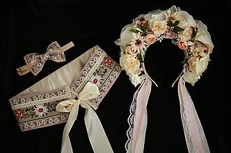 Ozdoby do vlasov - Svadobný set (opasok, parta, motýlik) - 9921486_