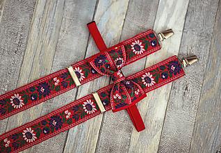 Doplnky - Folk set traky a extra vystužený motýlik - 9921518_