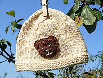 Detské čiapky - Detské čiapky  (Béžová čiapočka s mackom) - 9919376_