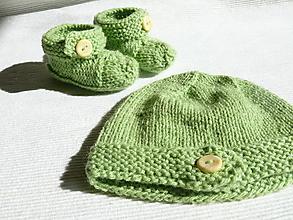 Detské čiapky - Detské čiapky  (Zelená súprava) - 9919416_