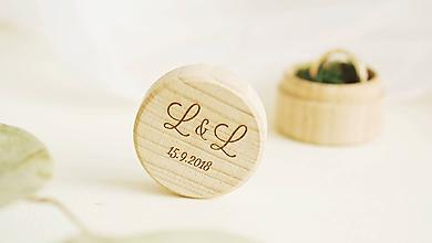 Prstene - Drevená krabička na prstienky mini - 9918819_