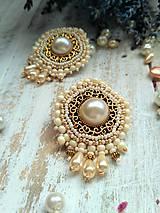 Náušnice - Pearl earrings - vyšívané náušnice - 9918707_
