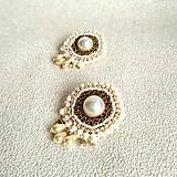 Náušnice - Pearl earrings - vyšívané náušnice - 9918708_
