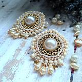 Náušnice - Pearl earrings - vyšívané náušnice - 9918709_