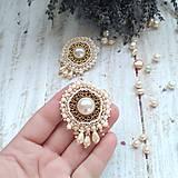 Náušnice - Pearl earrings - vyšívané náušnice - 9918714_