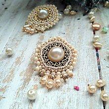 Náušnice - Pearl earrings - vyšívané náušnice - 9918713_